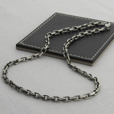 Mens Sterling Silver Anchor Chain Style Personalised Necklace - AMAZINGNECKLACE.COM