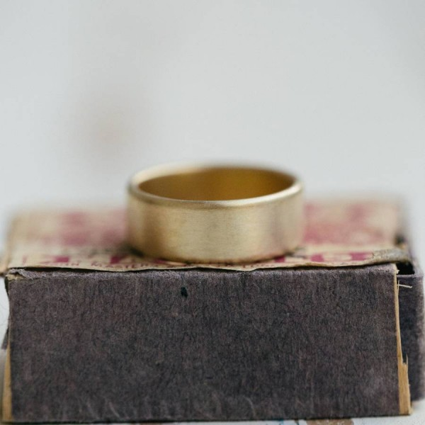Mens Wide Brushed Pillow Wedding Personalised Ring 18ct Gold - AMAZINGNECKLACE.COM
