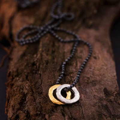 Mens Mixed Metal Eternity Personalised Necklace - AMAZINGNECKLACE.COM
