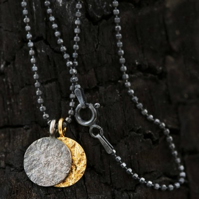 Night And Day Mixed Metal Mens Personalised Necklace - AMAZINGNECKLACE.COM