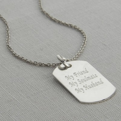Personalised Polished Sterling Silver Dog Tag Necklace - AMAZINGNECKLACE.COM