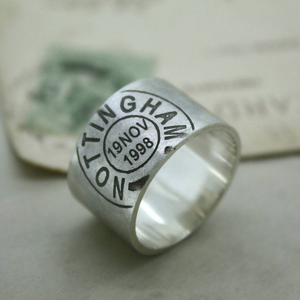 Mens Personalised Place And Date Ring - AMAZINGNECKLACE.COM