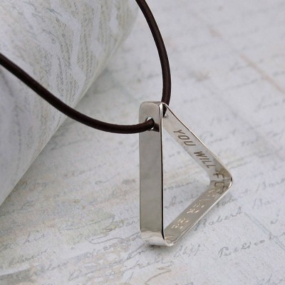 Mens Secret Message Silver Triangle Personalised Necklace - AMAZINGNECKLACE.COM