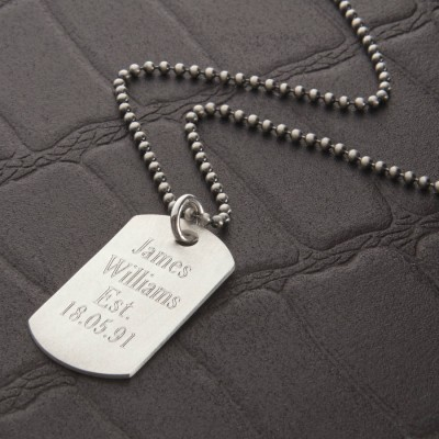 Personalised Brushed Sterling Silver Dog Tag Necklace - AMAZINGNECKLACE.COM