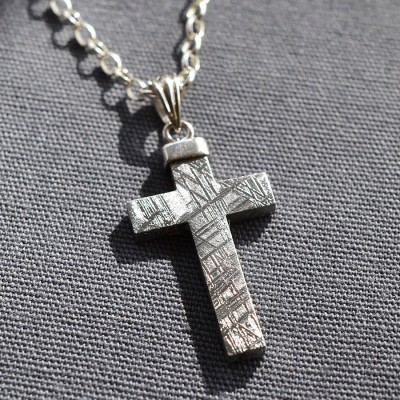 Meteorite And Silver Cross Personalised Necklace - AMAZINGNECKLACE.COM