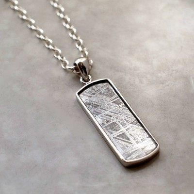 Meteorite And Silver Rectangular Personalised Necklace - AMAZINGNECKLACE.COM