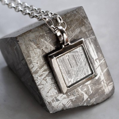 Meteorite And Silver Square Personalised Necklace - AMAZINGNECKLACE.COM