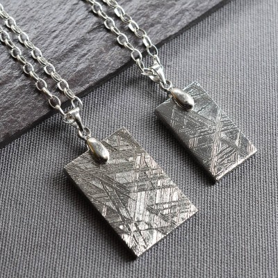 Meteorite And Silver Tag Personalised Necklace - AMAZINGNECKLACE.COM