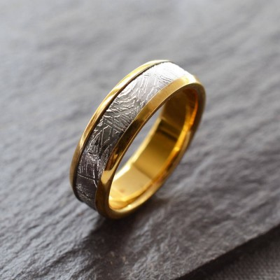 Meteorite Inlaid Gold Plated Personalised Ring - AMAZINGNECKLACE.COM