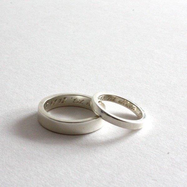 Pair Of Rings, Personalised Siver Bands - AMAZINGNECKLACE.COM
