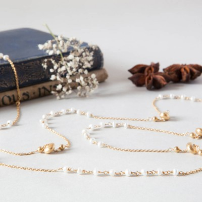 Pearls And Gold Beads Long Layering Chain Personalised Necklace - AMAZINGNECKLACE.COM