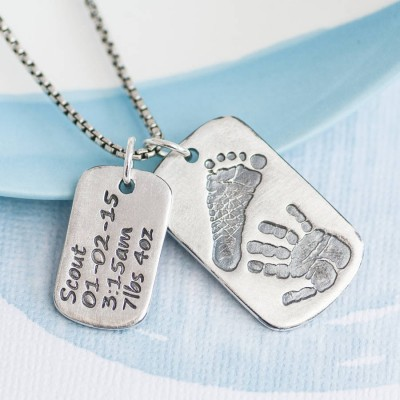 Dog Tag With Baby Prints And Birth Info Personalised Necklace - Two Pendants - AMAZINGNECKLACE.COM