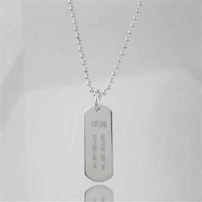 Personalised Coordinates Dog Tag Necklace - AMAZINGNECKLACE.COM