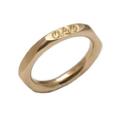 Personalised Hexagonal 18ct Gold Ring - AMAZINGNECKLACE.COM