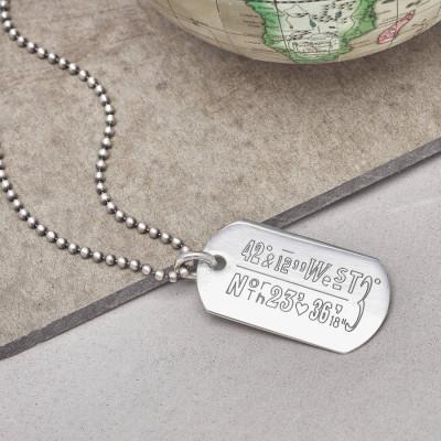 Personalised Location Coordinates Silver Necklace - AMAZINGNECKLACE.COM