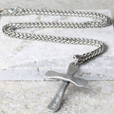 Personalised Mens Antique Cross Necklace - AMAZINGNECKLACE.COM