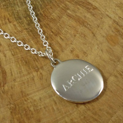 Personalised Mens Silver Pebble Necklace - AMAZINGNECKLACE.COM