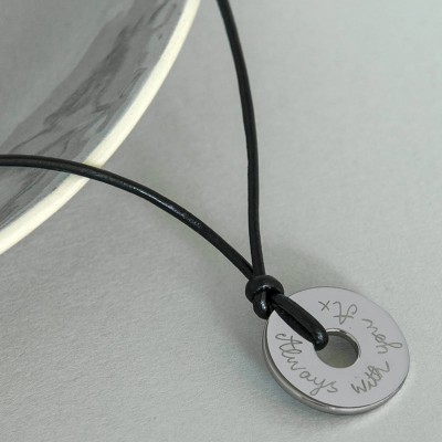 Personalised Mens Sterling Silver Open Disc Necklace - AMAZINGNECKLACE.COM