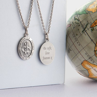 Personalised Mens St Christopher Silver Necklace - AMAZINGNECKLACE.COM