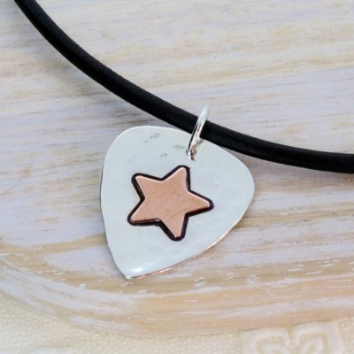 Personalised Silver And Copper Guitar Pick - AMAZINGNECKLACE.COM