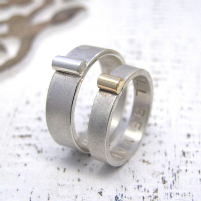 Personalised Silver And Gold His And Hers Rings - AMAZINGNECKLACE.COM