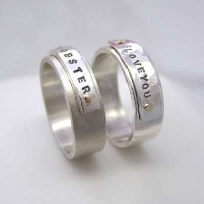 Personalised Silver And Gold Rivet Rings - AMAZINGNECKLACE.COM