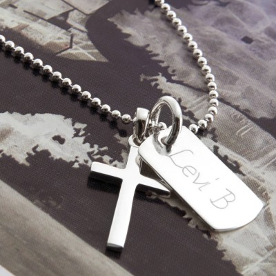 Personalised Sterling Silver Cross And Dogtag Necklace - AMAZINGNECKLACE.COM