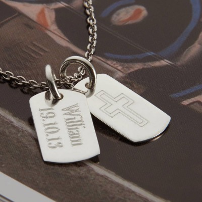 Personalised Sterling Silver Double Dog Tag Necklace - AMAZINGNECKLACE.COM