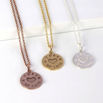 Personalised Silver And Gold Love Token Pendant - AMAZINGNECKLACE.COM