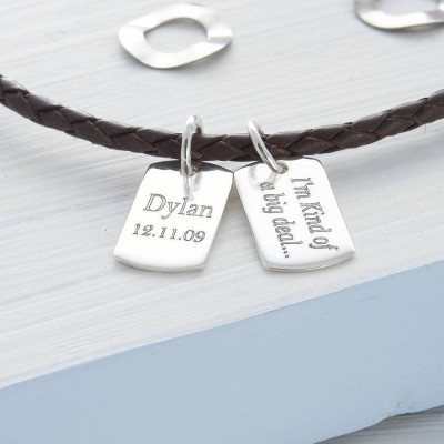 Personalised Silver Mini Dog Tag Leather Necklace - AMAZINGNECKLACE.COM