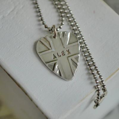 Personalised Silver Union Jack Plectrum - AMAZINGNECKLACE.COM