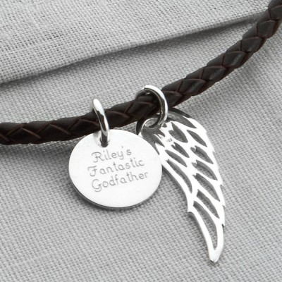 Personalised Silver Wing And Disc Leather Necklet - AMAZINGNECKLACE.COM