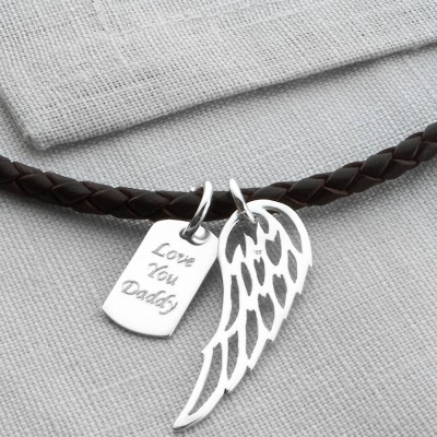 Personalised Silver Wing And Dogtag Leather Necklet - AMAZINGNECKLACE.COM