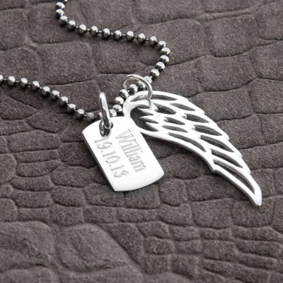 Personalised Sterling Silver Wing And Dogtag Pendant - AMAZINGNECKLACE.COM