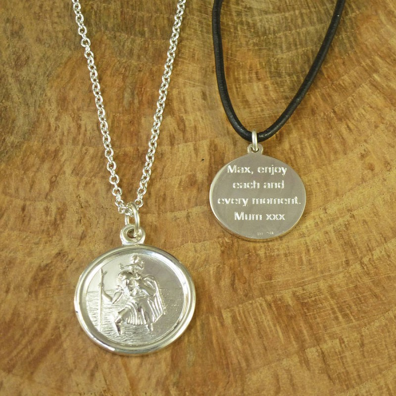 2c8a421a96dd3 St Christopher Sterling Silver Personalised Necklace ...