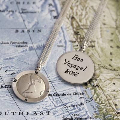 Personalised Globe Travel Necklace - AMAZINGNECKLACE.COM