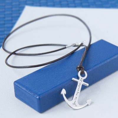 Mens Personalised Sterling Silver Anchor Necklace - AMAZINGNECKLACE.COM