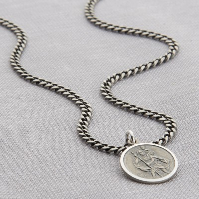 Personalised Sterling Silver St Christopher Necklace - AMAZINGNECKLACE.COM