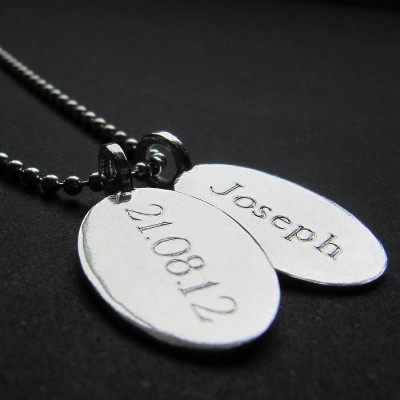 Silver Tag amp Ball Chain Personalised Necklace - AMAZINGNECKLACE.COM