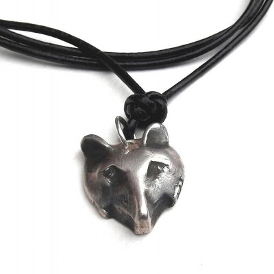 Solid Silver Fox Head Personalised Necklace - AMAZINGNECKLACE.COM