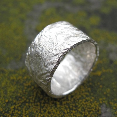 Sterling Silver Rocky Outcrop Broad Personalised Ring - AMAZINGNECKLACE.COM