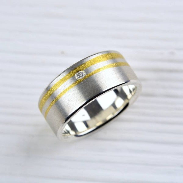 Silver And Finegold Diamond Personalised Ring - AMAZINGNECKLACE.COM