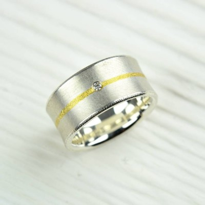 Silver And Fused Gold Diamond Personalised Ring - AMAZINGNECKLACE.COM
