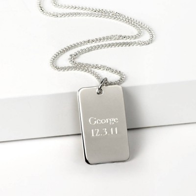 Silver Dog Tag Personalised Necklace - AMAZINGNECKLACE.COM