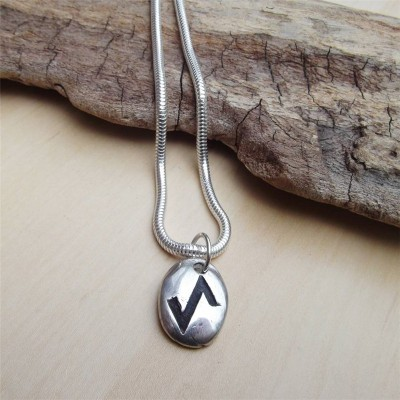 Silver Rune Stone Personalised Necklace  - AMAZINGNECKLACE.COM