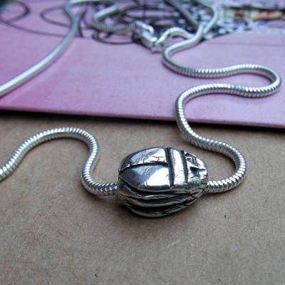 Silver Scarab Beetle Personalised Necklace - AMAZINGNECKLACE.COM