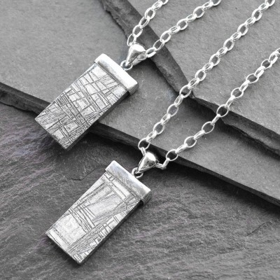 Silver Tipped Meteorite Personalised Necklace - AMAZINGNECKLACE.COM