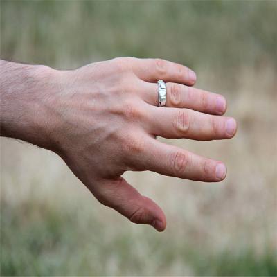 Steampunk Sterling Silver Wedding Band - AMAZINGNECKLACE.COM
