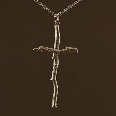 Silver Rose Root Cross Personalised Necklace - AMAZINGNECKLACE.COM