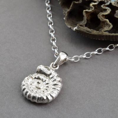 Sterling Silver Ammonite Pendant - AMAZINGNECKLACE.COM
